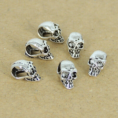 6 PCS 925 Stamped Sterling Silver 5x9mm Vintage Celtic Skull Bead Charm WSP214x6