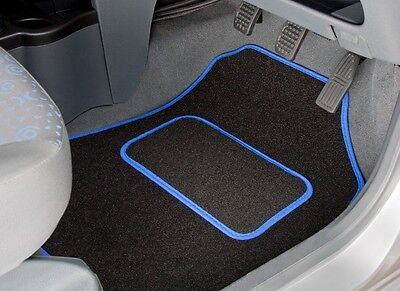 Toyota Yaris Hybrid (2014 On) Tailored Car Mats In Black With Blue Trim (3432)