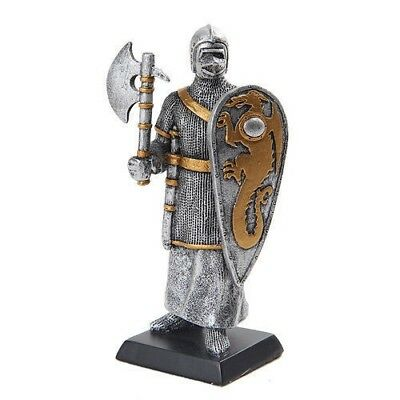 "Elite Guard Statue Medieval Knight of Valor Axe Crusader 5""H Figurine Miniature"