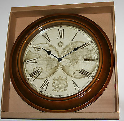 Wall Clock - Old World Map Antique Style , Bronze Case 31cm