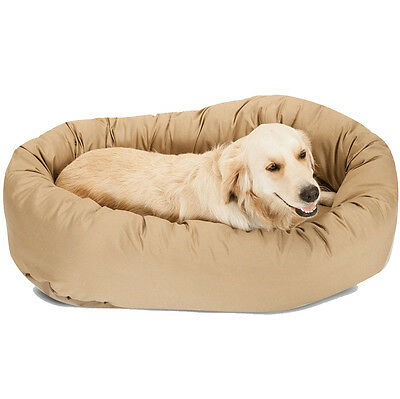 """52"""" Dog Round Beige Tan Bagel Bed Suede Puppy Pet Donut Padded Plush Cushion New"""