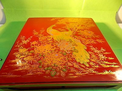 Bento Japan Peacock- Jubako Lacquer Ware- Serving Dish W 4 Plates & Cover