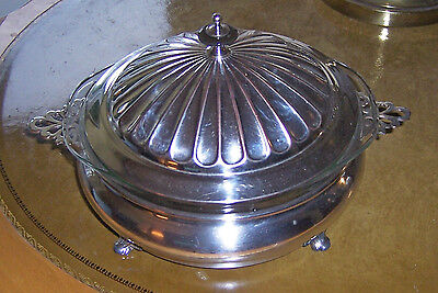 ANTIQUE SILVERPLATED ENGLISH CASSEROLE SERVING BOWL W/PYREX BOWL 3 Pc.  FOOTED