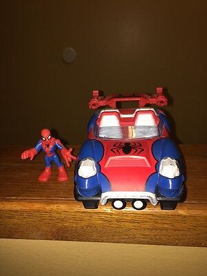 "2010 Hasbro Marvel Spider-Man Red & Blue Car Vehicle 5.5"" Long With Figure!"
