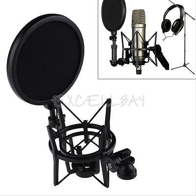 Pro Audio Microphone Mic Shock Mount Holder Studio Stand Integrated Pop Filter