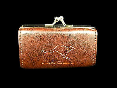 Australian Souvenir Australia Kangaroo Embossed Ladies Brown Coin Cluch Purse