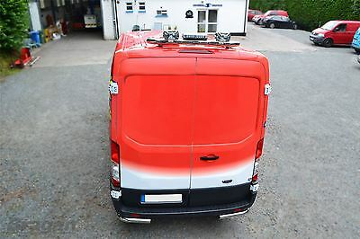 2014+ Ford Transit Chrome Rear Roof Van Bar with flashing beacon, lamps + LEDs