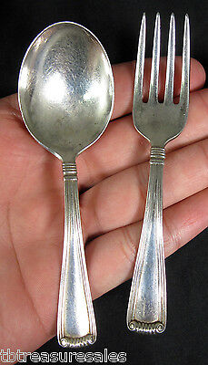 Sterling Silver Baby Spoon and Fork ~ Signed J.E. Caldwell & co CRT8 PATTERN