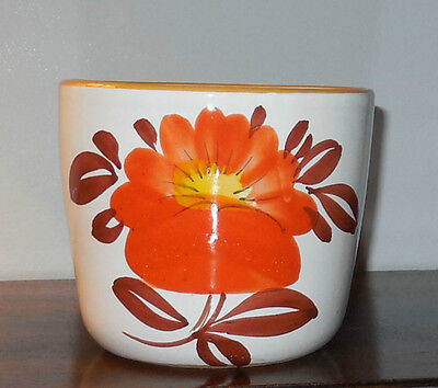 Hand Painted Planter - Italy - White and Orange
