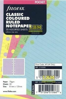Filofax Pocket size Classic Coloured Notepaper Ruled Refill Insert 210508