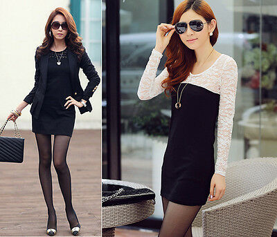NEW Sexy Womens fashion Long Sleeve Neck Clubwear Party Cocktail Lace Mini Dress