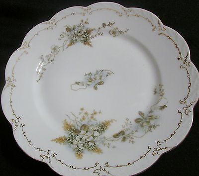 SET  6 VINTAGE IMPERIAL CROWN CHINA DOGWOOD EMBOSSED RIM DINNER PLATES SCALLOPED