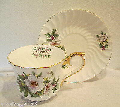 Lefton 2003 Cup And Saucer December With Floral Made In China