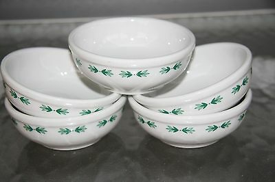 Set of 5 Shenango Restaurant Ware Berry Chili Cereal Bowls - Green Leaves