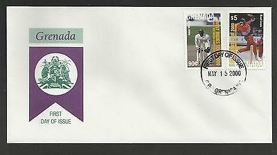 GRENADA 2000 LORD'S GROUND CRICKET 100th TEST MATCH Junior Murray 2v FDC