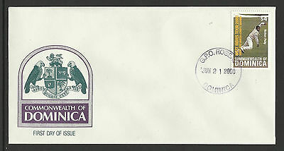 DOMINICA 2000 LORD'S GROUND CRICKET 100th TEST MATCH NORBERT PHILLP 1v FDC
