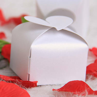 100 White Heart Chocolate Cake Cookie Candy Box Gift Boxes WEDDING PARTY Favor