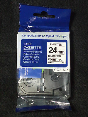 "1 Brother COMPATIBLE TZe-251 BLACK PRINT ON WHITE TAPE 1"" X 26' 8M TZE251 LABEL"
