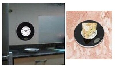 Wall Measuring Scale With Built-In Analogue Clock Feature Inc. Tare Grams & Oz