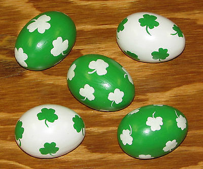 Set of 5 Green & White Shamrock Eggs Handpainted Clover Leaf St. Patrick's Day