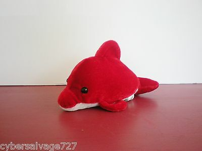 """7"""" Red And White Plush Stuffed Dolphin Stuffed Animal Decoration New"""