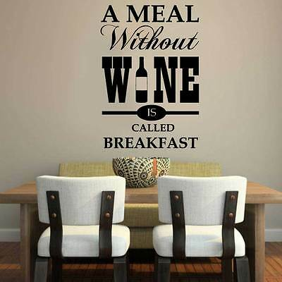 A MEAL WITHOUT WINE  Kitchen Wall Quote Stickers  Vinyl Art Decals decor DIY