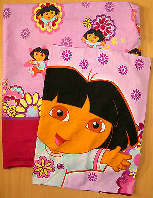 Dora the Explorer Full Flat Sheet & Pillowcase - Fabric - Bedding - VGC