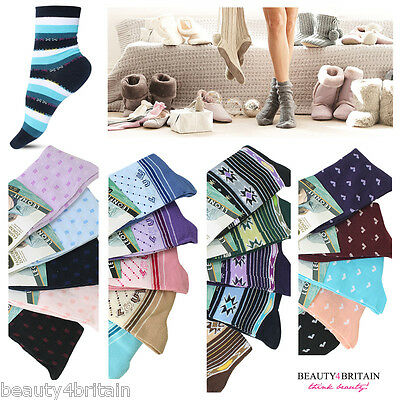 6 PAIRS x WOMEN'S SOCKS EVERYDAY COTTON RICH 92% 2 SIZES 10 DIFFERENT DESIGNS