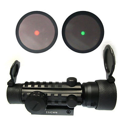 New Hunting 2x42 Red Green Dot Scope Sight 20mm Weaver Mount Rail