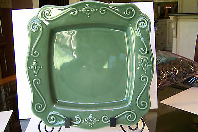 "HUGE Green Mottahedeh Decorative Platter  12 3/4"" square, mint condition"