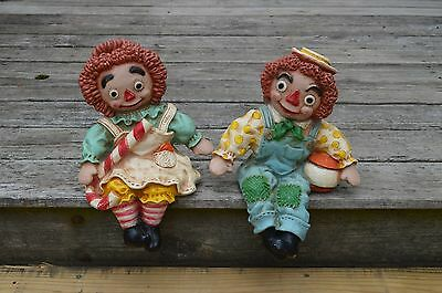 Raggedy Ann and Andy shelf sitter set 1969 Universal Statuary corp. VINTAGE