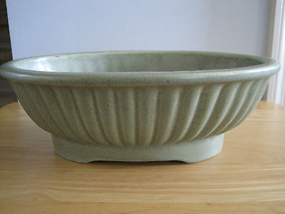 VTG Collectible HAEGER Matte Green Speckled OVAL Console Planter Bowl USA 3938-C