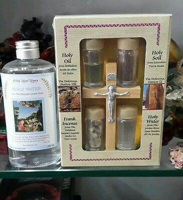 Holy water 250 ml with real olive wood cross set from blessed Jordan river