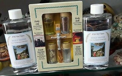 2 Holy water 250 ml with real olive wood cross set from blessed Jordan river