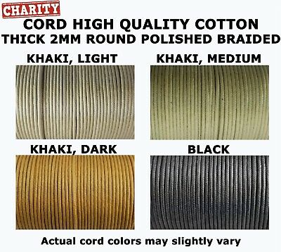 2mm Thick Waxed and Polished Braided Cotton Cord 100 meters = 328 ft. Spool