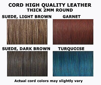2mm Thick Round Genuine Leather Cord 100 meters = 328 ft. Spool