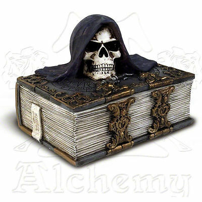 ALCHEMY GOTHIC Vault Series ALCHEMIST'S CARD BOX, Grim Reaper Skull Book Box V12