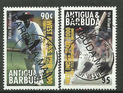 BARBUDA MAIL OPT on ANTIGUA 2000 LORD'S CRICKET 100th TEST MATCH 2v CTO USED