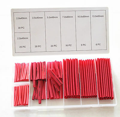 127Pc Heat Shrink Tube Shrinkable Tubing Electric Wire Cable Sleeving Wrap Red