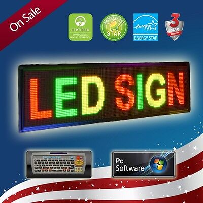 """LED SIGN 15""""x40"""" PROGRAMMABLE TRI COLOR * (PC & REMOTE)* SCROLLING MESSAGE BOARD"""