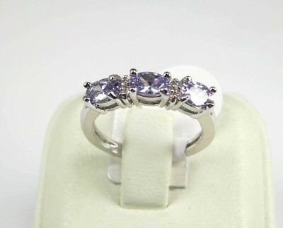R#5319 simulated Lavender Tourmaline Gemstone ladies silver ring size 7.25
