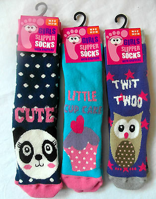 Girls Various Designs Slipper Socks with Grippers OWL, PANDA, CUPCAKE STRAWBERRY