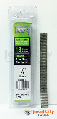 "Grex 18 Gauge 1/2"" inch Stainless Steel Brad Nails - GBS18-12 Qty: 1000"