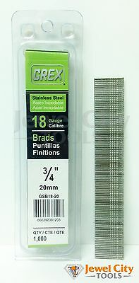 "Grex 18 Gauge 3/4"" inch Long Stainless Steel Brad Nails - GBS18-20 Qty: 1000"