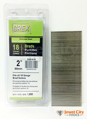 "Grex 18 Gauge 2"" inch Long Stainless Steel Brad Nails - GBS18-50 Qty: 1000"