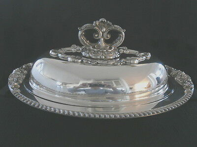 Vintage Eton Sheffield Silver Plated Over Copper Entree  Server