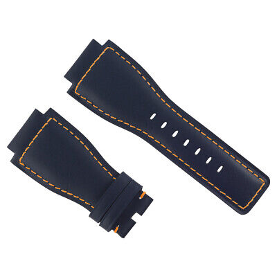 24Mm Genuine Leather Strap Smooth Band For Bell & Ross Br-01-03 Blue Os #8A