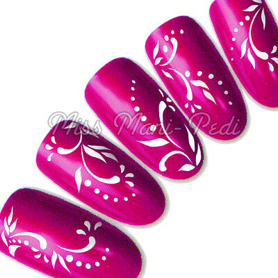 Nail Art Water Decals Transfers Stickers Wraps White Swirls, Leaves & Dots Y004