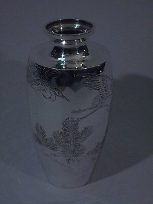Vase with Cranes  Asian  Meiji Japanese Silver  C 1900