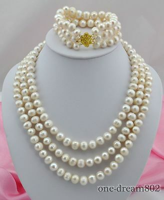 "Attractive 3strands 22"" 8""10mm white freshwater pearl necklace bracelet"